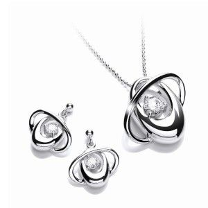 Rhodium finished silver pendant and earrings with Swarowski Zirconia