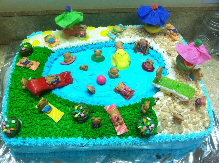 Teddy graham community pool cake.Graham Community, Community Pools, Fantastic Food, Cake Design, Cake Ideas, Cake Decor, Parties Ideas, 3Rd Birthday, Bday Parties
