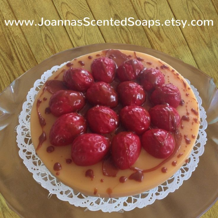 Cholesterol free, Fat Free, Sugar Free Replica Dessert! Faux decorative cake made from naturally scented soap to look like bakery cake, while all decoration is real Soap! Super-realistic flan smells good enough you want to eat it!!