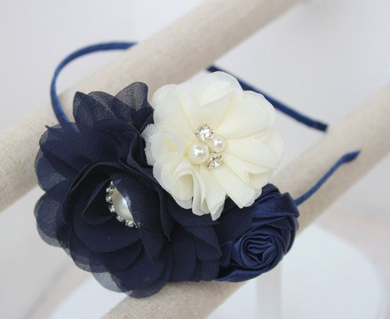 Navy blue headband flower girl headband navy blue wedding headband ivory…