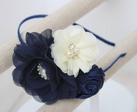 Navy blue headband flower girl headband navy blue wedding headband ivory…