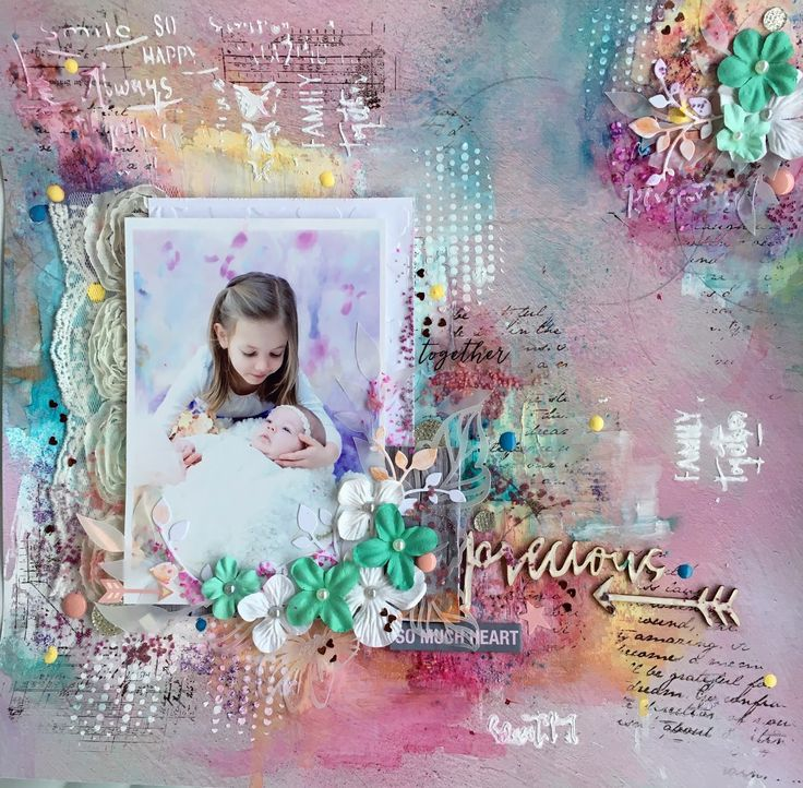 Mixed media page, my beautiful nieces 💕