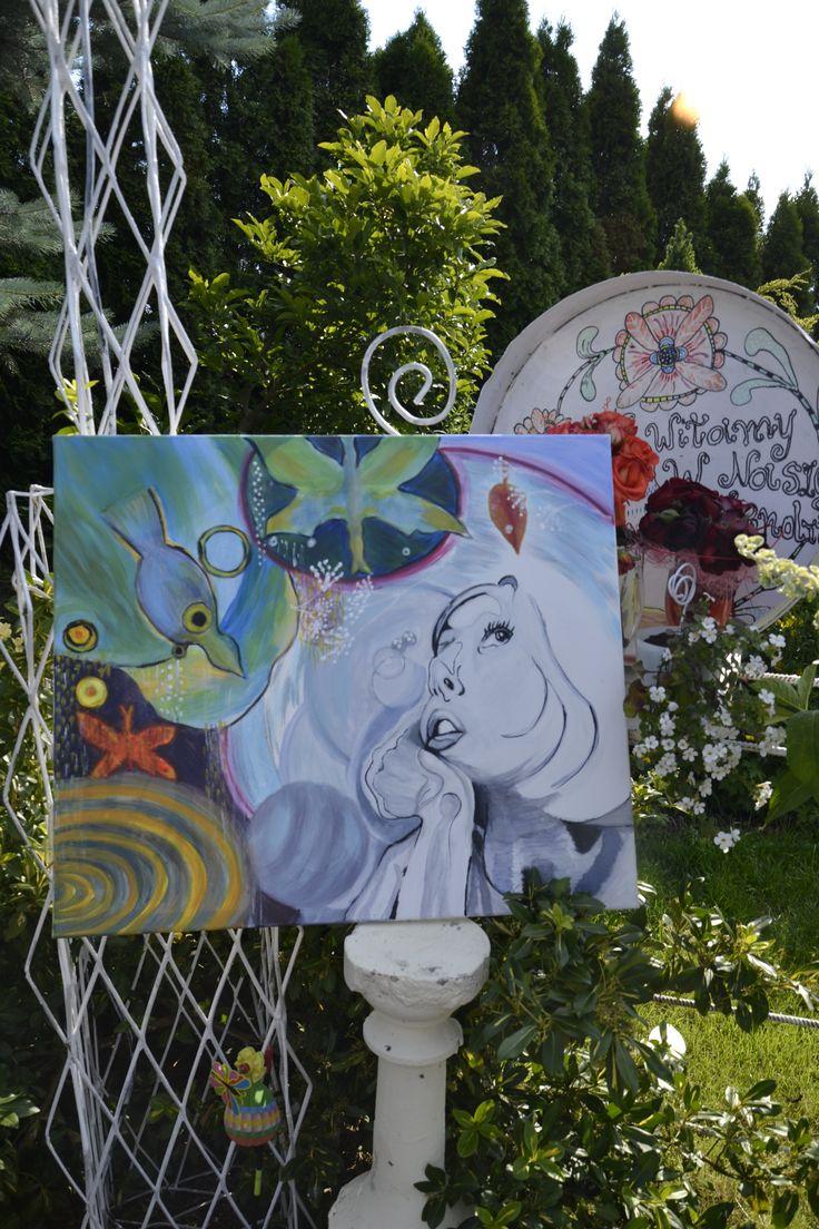 Garden-Polska.Malowanie w moim ogrodzie-acryl na płótnie-wakacje Elżbieta Gonciarz