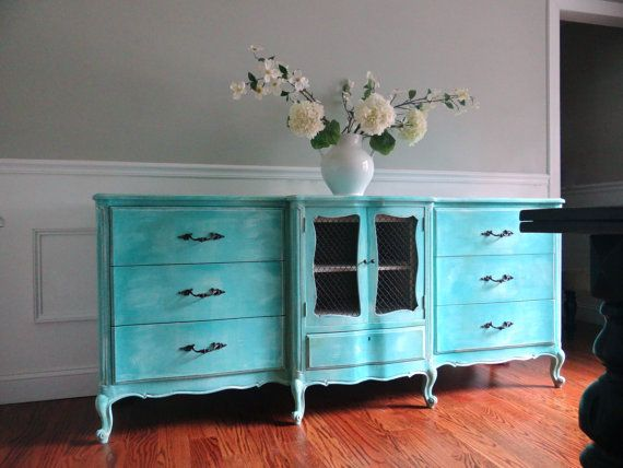 vintage french provincial hand painted cottage chic shabby distressed aqua turquoise teal blue buffet tv console - Painted Tv Consoles