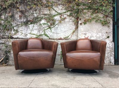 livrm mid century brown leather swivel club chairs