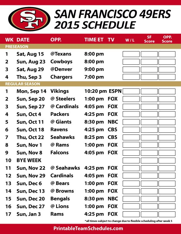 San Francisco 49ers 2015 Schedule. Printable version here: http://printableteamschedules.com/NFL/sanfrancisco49ersschedule.php