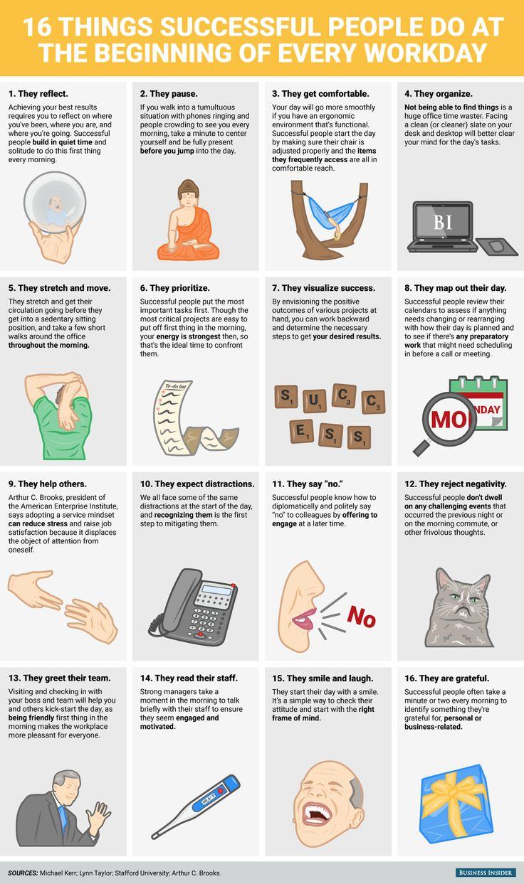 16 coisas que pessoas de sucesso fazem no iInício de cada dia de trabalho