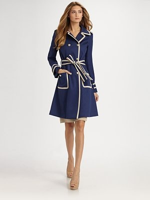 St. John Contrast Stitched Trenchcoat