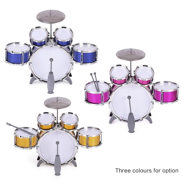 Kids Drum Set Toy 5 Drums 2 Drum Sticks Small Cymbal Stool Great Musical Toy USA