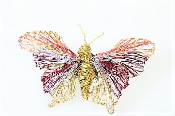 utterfly brooch, purple gold, insect artwork, wire sculpture, animal jewelry, large brooch, winter, unique bridesmaid gift, modern hippie  Handmade purple gold butterfly brooch, insect artwork, made of colored copper and silver wire.The height of the wire sculpture, animal art jewelry, large brooch, is 4cm(1.57in) and the width (body with wings), of the uniquely modern, hippie, bridesmaid gift, Christmas gift, is 6.5cm(2.56in).The pin is silver.