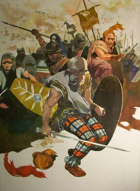 La guerre des Gaules: Charge des gaulois.- ANNE 52 av JC: révolte de Vercingétorix; 2) VICTOIRE DE VERCINGETORIX A GERGOVIE, 5: César se porte avec 4 légions au-devant des 10.000 EDUENS avant qu'ils aient eu le temps de se joindre aux autres Celtes ou de le prendre à revers. LITAVICCOS est forcé à fuir et rejoint Vercingétorix à Gergovie, et le reste de l'armée Eduenne est épargnée par César, qui retourne à son camp.