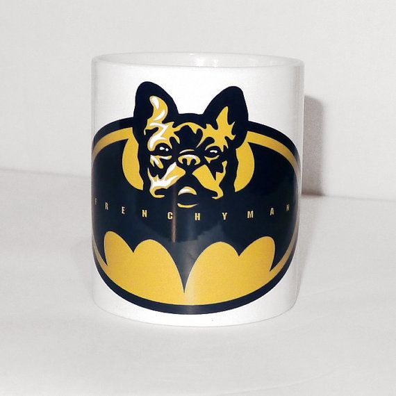 Mug french bulldog Frenchyman Dog Frenchie Bat Dog by PSIAKREW