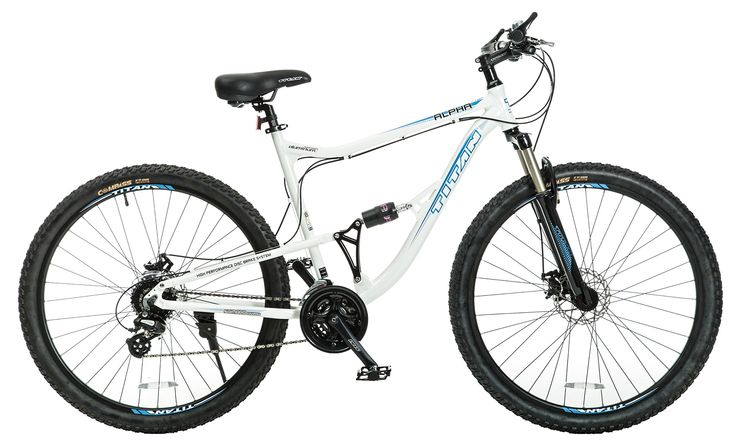 Titan Alpha Alloy-Frame Mountain Bike with Front-Suspension, 21.5-Inch Frame, 24-Speeds, 29-Inch Wheels, White