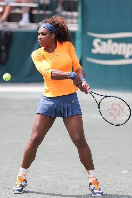 Fan favorite, Serena Williams returns a backhand