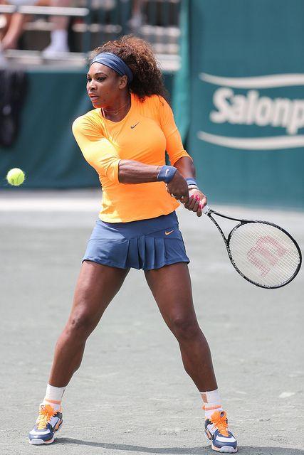Fan favorite, Serena Williams returns a backhand