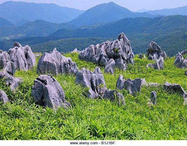 Akiyoshidai, karst tableland, Shuho, Yamaguchi, Sanyo, Japan - Stock Image
