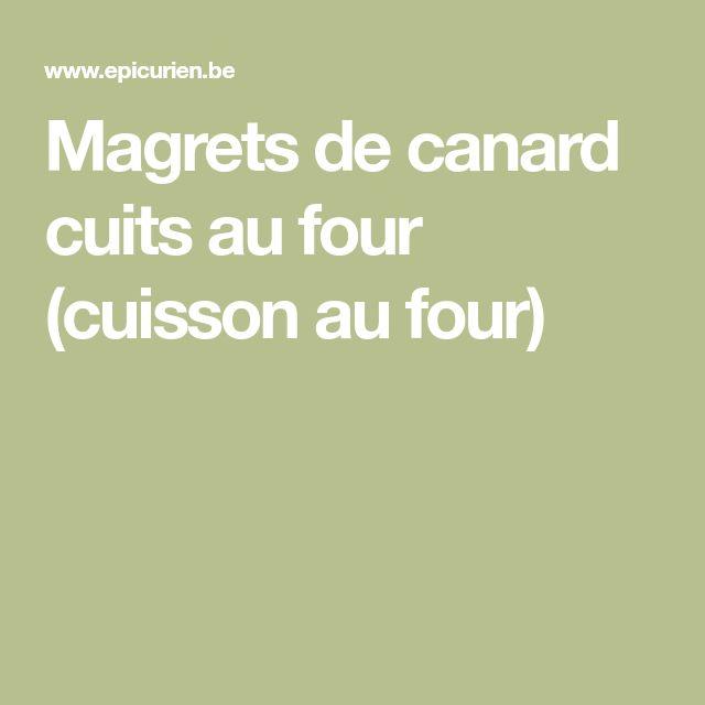 Magrets de canard cuits au four (cuisson au four)
