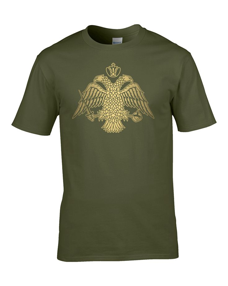 awesome BYZANTINE DOUBLE HEADED EAGLE EMBLEM- metallic gold print Men's T-Shirt from Fat Cuckoo …