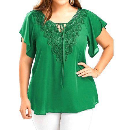 2dcd341bc46da AKFashion Women s Plus Size V Neck Short Bell Sleeve Irregular Hollow Out  Lace Panelled Chiffon Blouse Shirts Tops - Walmart.com