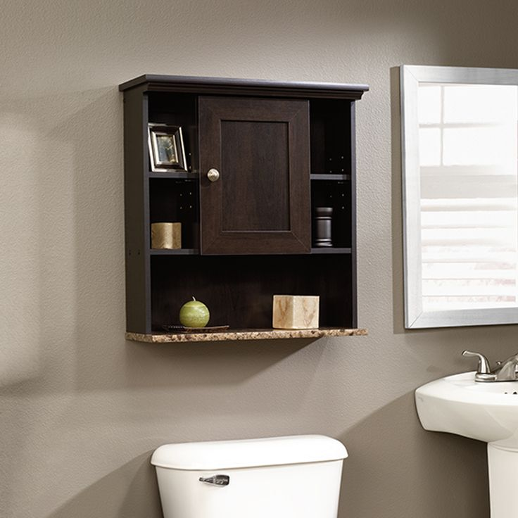 The Bathroom Wall Cabinet is an easy way to add space-saving storage to  your bathroom. With a dark wood finish this unit is sure to match ...