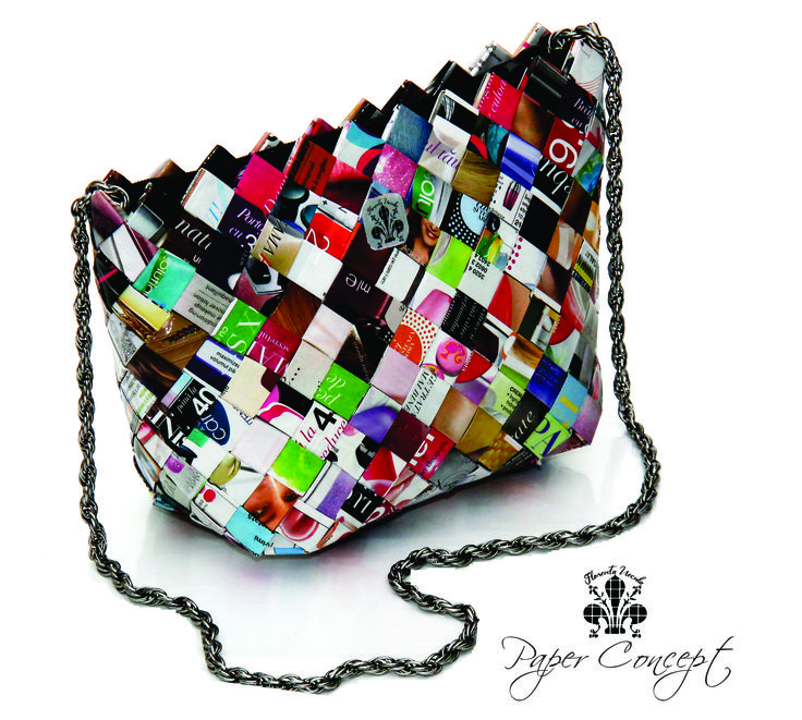 The Vintage Bag- a colorful bag made with paper and textil