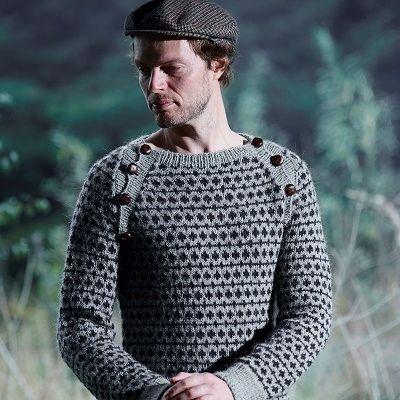 Herre Sweater Med Raglan Og Skrå Knaplukning