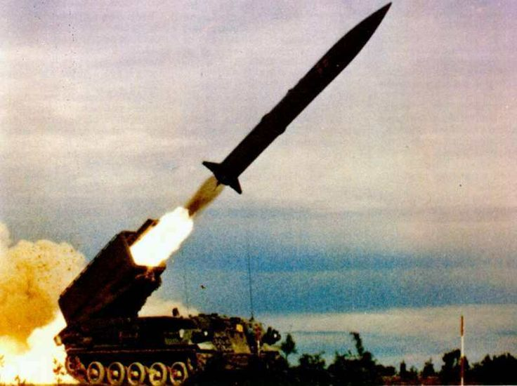 """The launch of  French """"Pluton"""" with mobile missile launchers on the chassis of a tank AMX-30."""