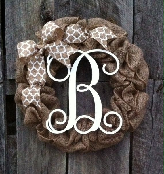 burlap monogram  wreath burlap wreath by Studio31TenGifts on Etsy