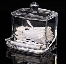 Новый Дизайн, Прозрачный Акриловый Ватный Тампон Box ватная палочка Держатель Для Хранения Косметика Для Макияжа инструмент Женщины Хранения Коробка С Крышкой(China (Mainland))