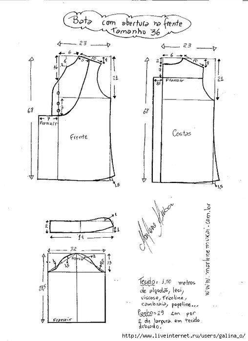 Túnica con una manga 3/4. Tamaño del patrón 36-50 (Costura y corte ...
