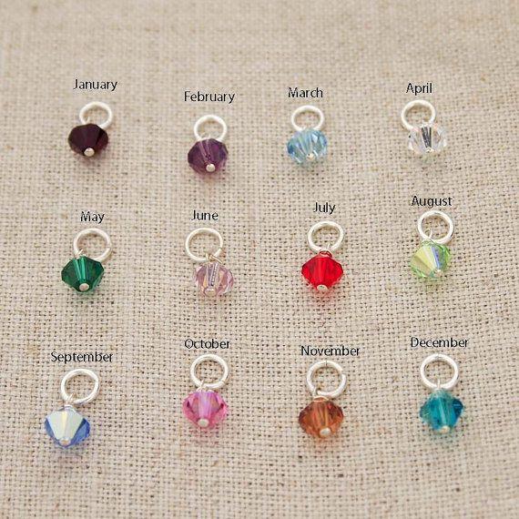 One Sterling Silver Swarovski Crystal Birthstone Charm Birthstone Charms Swarovski Crystals Hand Stamped Jewelry
