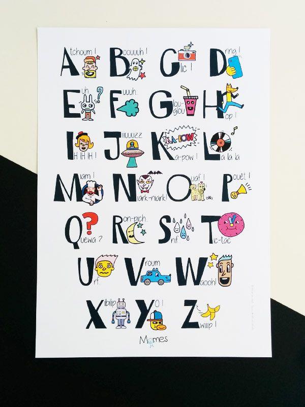 Poster Alphabet des onomatopées