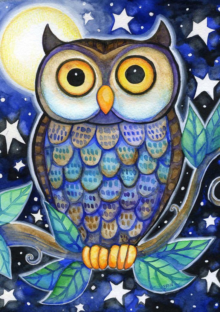 Night Owl 5x7 Whimsical Owl Moon Stars Print by BlueLucyStudios