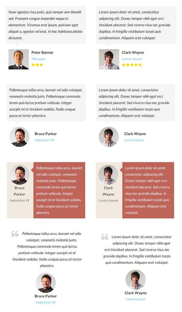 Testimonials Showcase WordPress Plugin by CodeCanyon - Example of Layout Combinations