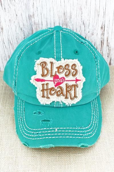 1d5e0d2ef25 This cap is the perfect year-round fashion accessory! 100% Cotton Distressed  Cap Frayed Edge Applique with Embroidered Saying and Arrow Through Heart ...