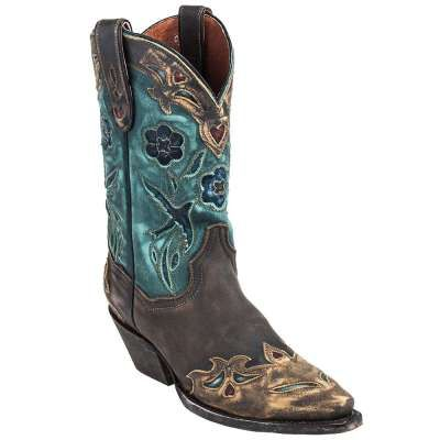 Dan Post Boots: Women's Brown and Teal DP3544 Vintage Bluebird Cowboy Boots - Women's Cowboy Boots - Women's Boots - Footwear