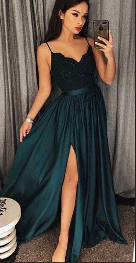 f1c1cb16b276b Sexy Dark Green V-Neck Lace Bodice Prom/Evening Dres Slit Side P1630 ...