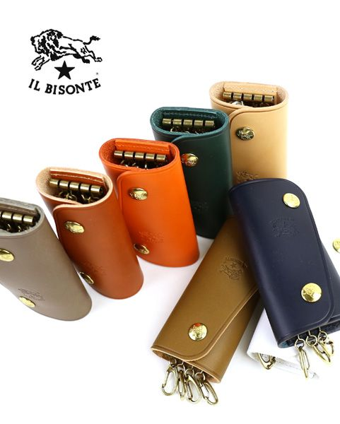 IL BISONTE(イルビゾンテ) レザー スナップボタン キーケース(L)・5412305250  #ILBISONTE