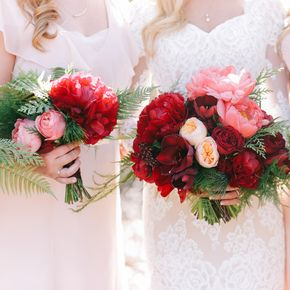 Red and Pink Bridal Bouquet with Roses