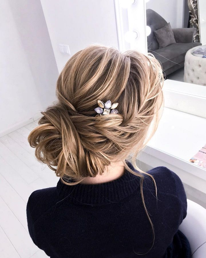 Loose Braided Updo Hairstyle Ideas Bridal Chignon Hairstyle Hair Styles Braided Hairstyles Updo Simple Bridal Hairstyle