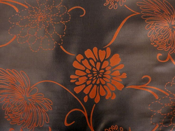 Orange and  Brown Eyelet Pair of Curtains Taffeta Velvet Flock 54 ,72 ,90