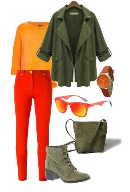 Что носить с красными джинсами