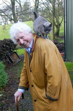 Fourth Doctor (Tom Baker) and Gray shoulder cat friend