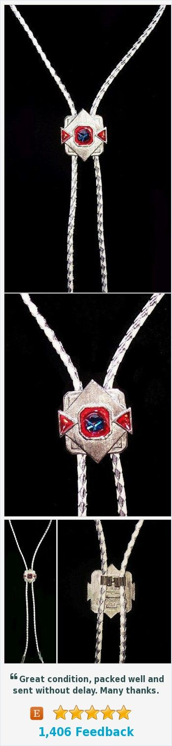 "Bolo Tie Pendant White Leather Cord Red White Blue Signed S.S.J. Rhinestones 20"" Vintage https://www.etsy.com/BrightgemsTreasures/listing/534316148/bolo-tie-pendant-white-leather-cord-red?ref=shop_home_active_9"