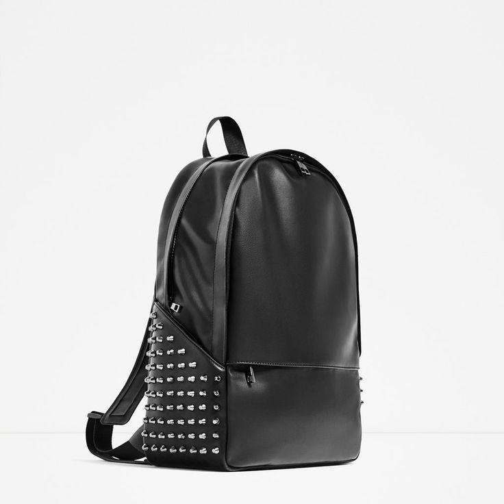 "BLACK STUDDED BACKPACK FOR 13"" LAPTOP-Backpacks-BAGS-MAN   ZARA United Kingdom"