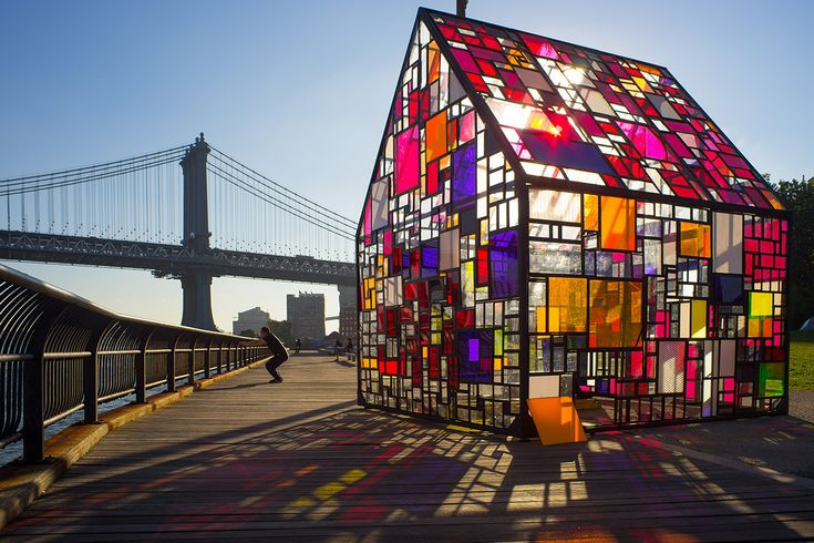 Tom Fruin's Stained Glass House Installed at Brooklyn Bridge Park  http://www.thisiscolossal.com/2014/10/tom-fruins-stained-glass-house-installed-at-brooklyn-bridge-park/