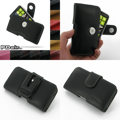 PDair Leather Case for Nokia Lumia 620 - Horizontal Pouch Type (Black)
