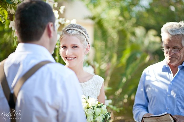 Lynne tearing up during their intimate Karoo farm wedding ceremony
