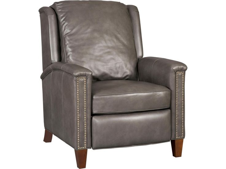 This transitional high leg recliner is the ideal addition to your den, living room or any other corner you need a stylish, comfortable chair. Reclining feature lets you sit back and relax. Top grain leather is used in two colors, a charcoal grey or tan make it easy to pair with other pieces. Decorative nailhead trim is used down the front of the arms while the chair sits on finished wood feet in a Dark Walnut color. Use this stylish high leg recliner to easily update your home.