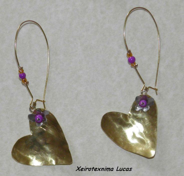 μεταλλικά σκουλαρίκια καρδιές XeiroTexnima Lucas
